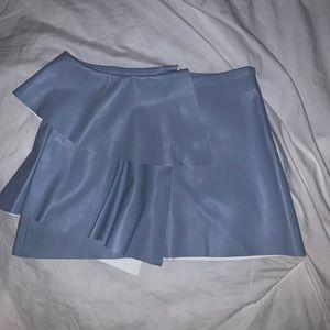 Zara baby blue faux leather mini skirt